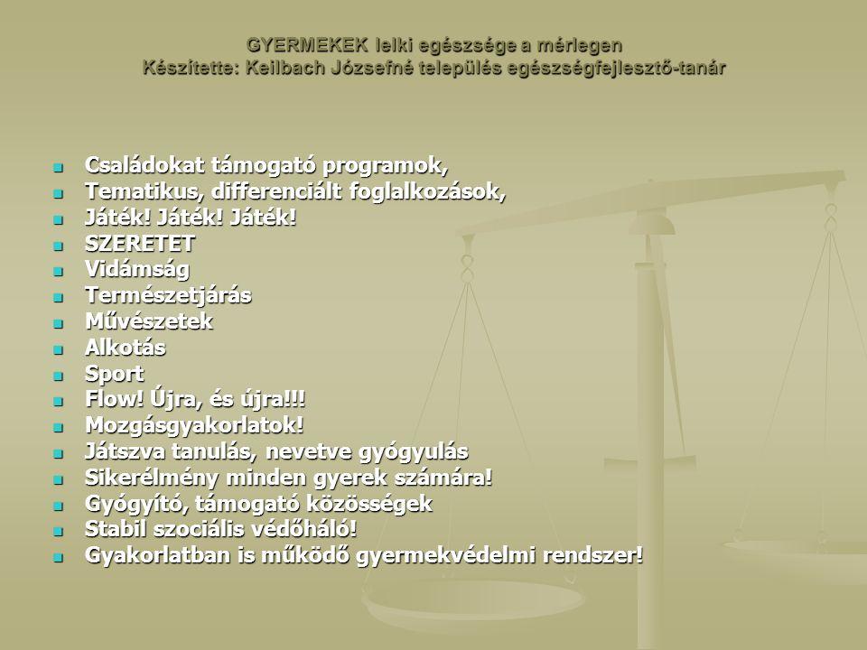 Családokat támogató programok, Tematikus, differenciált foglalkozások,