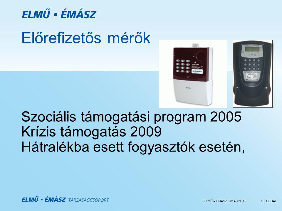 Előrefizetős mérők Szociális támogatási program 2005