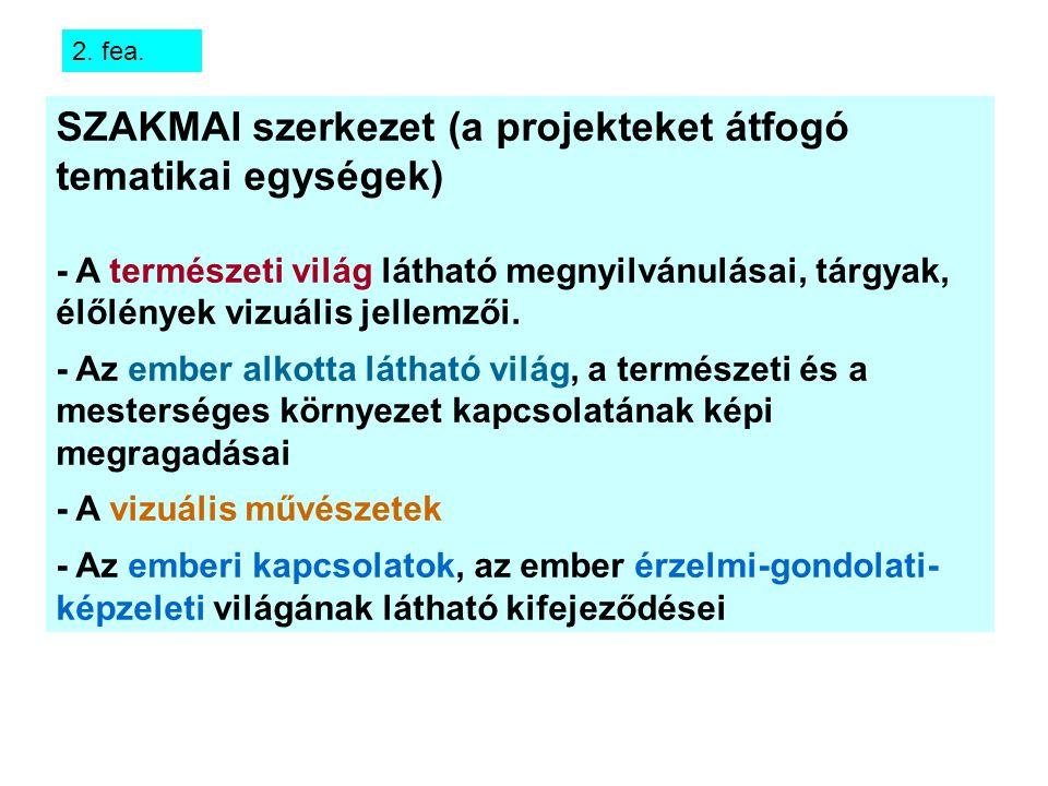 SZAKMAI szerkezet (a projekteket átfogó tematikai egységek)