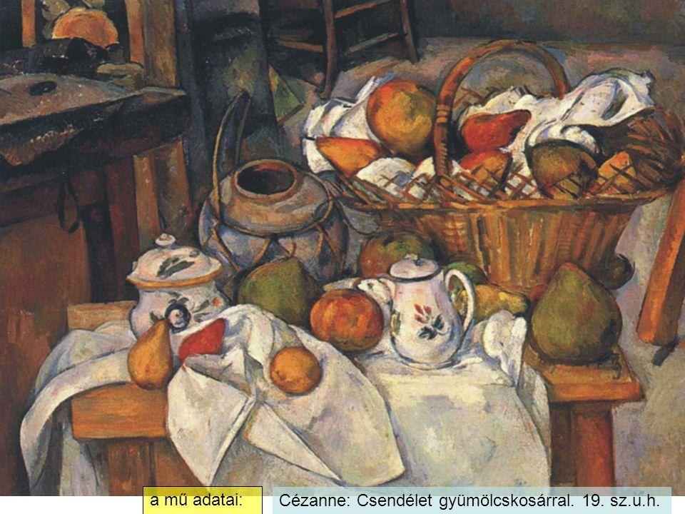 a mű adatai: Cézanne: Csendélet gyümölcskosárral. 19. sz.u.h.