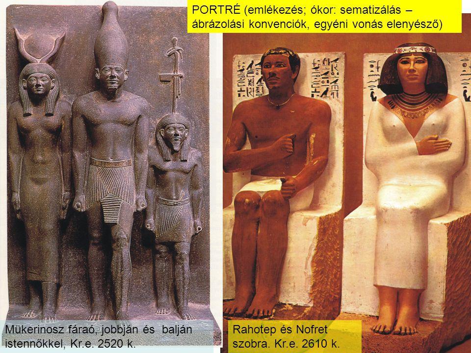 Mükerinosz fáraó, jobbján és balján istennőkkel, Kr.e. 2520 k.
