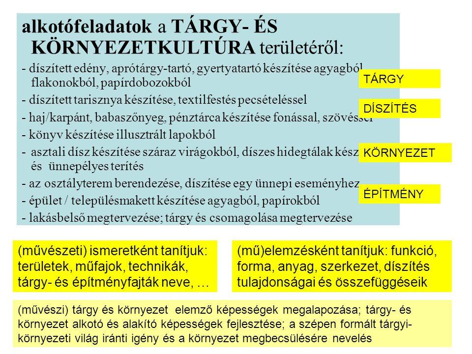 alkotófeladatok a TÁRGY- ÉS KÖRNYEZETKULTÚRA területéről:
