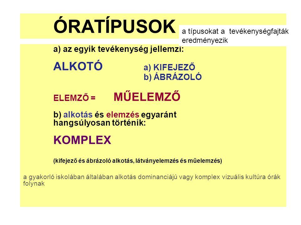 ÓRATÍPUSOK a) az egyik tevékenység jellemzi: ALKOTÓ a) KIFEJEZŐ