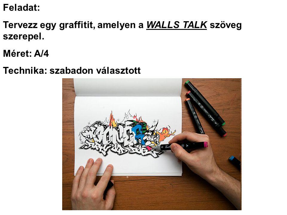 Feladat: Tervezz egy graffitit, amelyen a WALLS TALK szöveg szerepel.