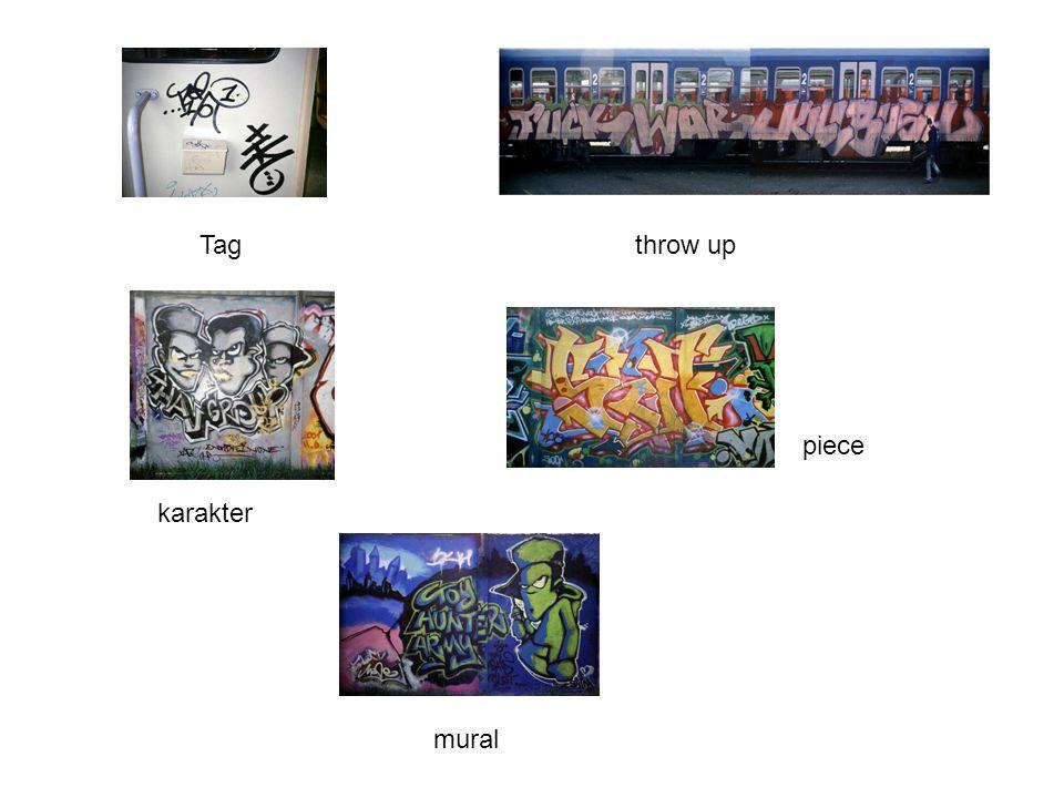Tag throw up piece karakter mural