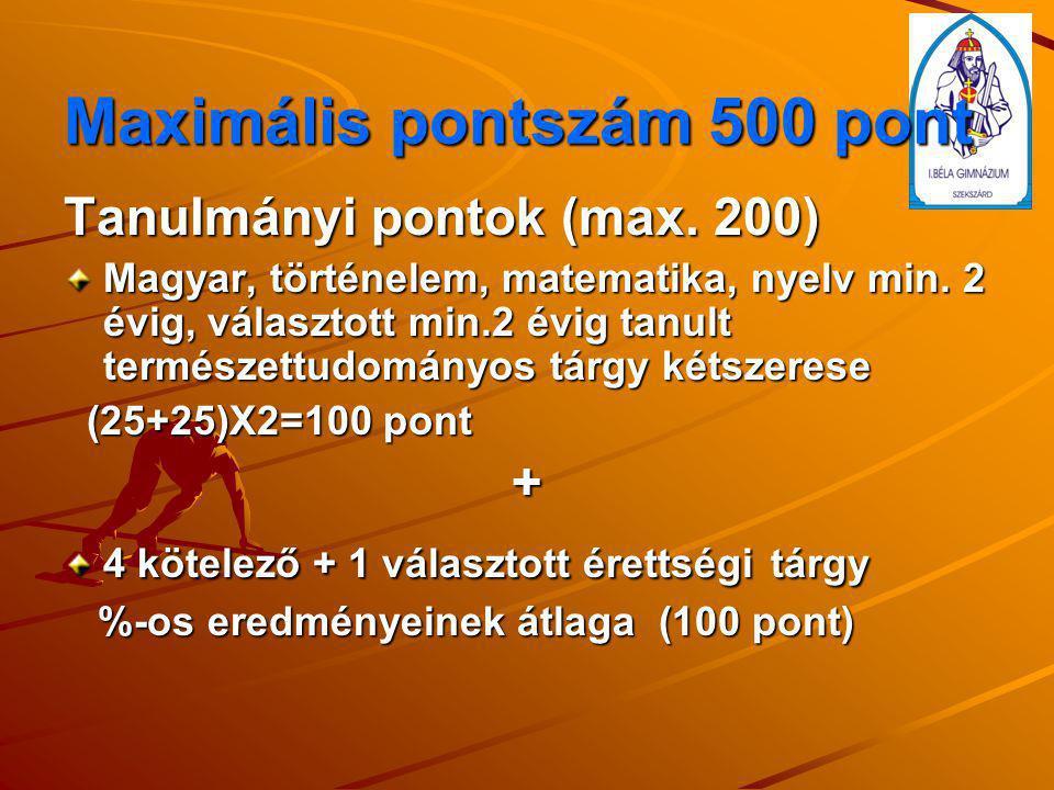 Maximális pontszám 500 pont