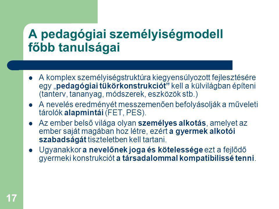 A pedagógiai személyiségmodell főbb tanulságai