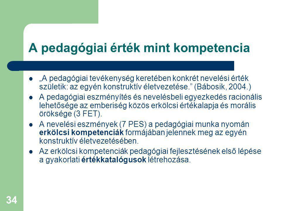 A pedagógiai érték mint kompetencia