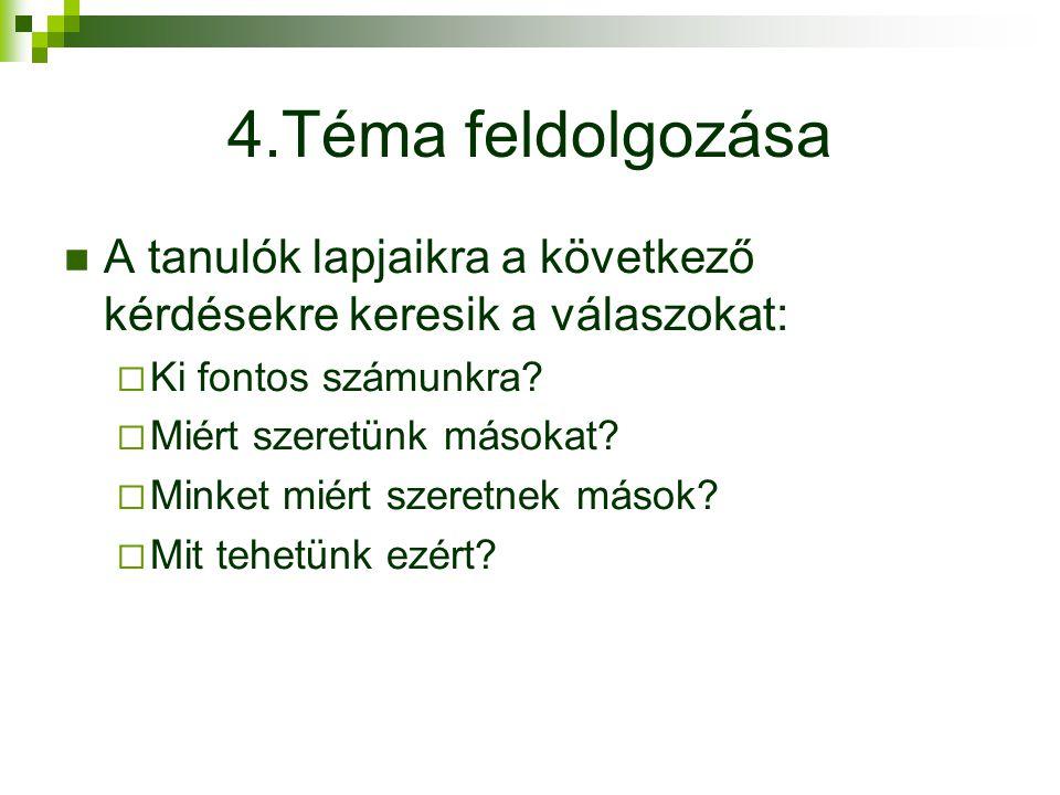 4.Téma feldolgozása A tanulók lapjaikra a következő kérdésekre keresik a válaszokat: Ki fontos számunkra