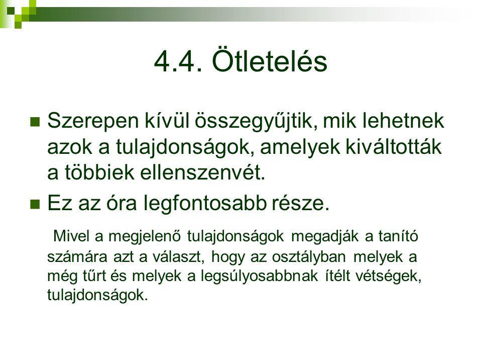 4.4. Ötletelés Szerepen kívül összegyűjtik, mik lehetnek azok a tulajdonságok, amelyek kiváltották a többiek ellenszenvét.