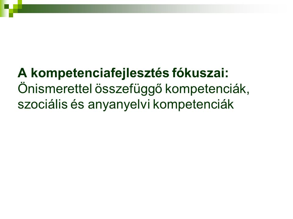 A kompetenciafejlesztés fókuszai: Önismerettel összefüggő kompetenciák, szociális és anyanyelvi kompetenciák