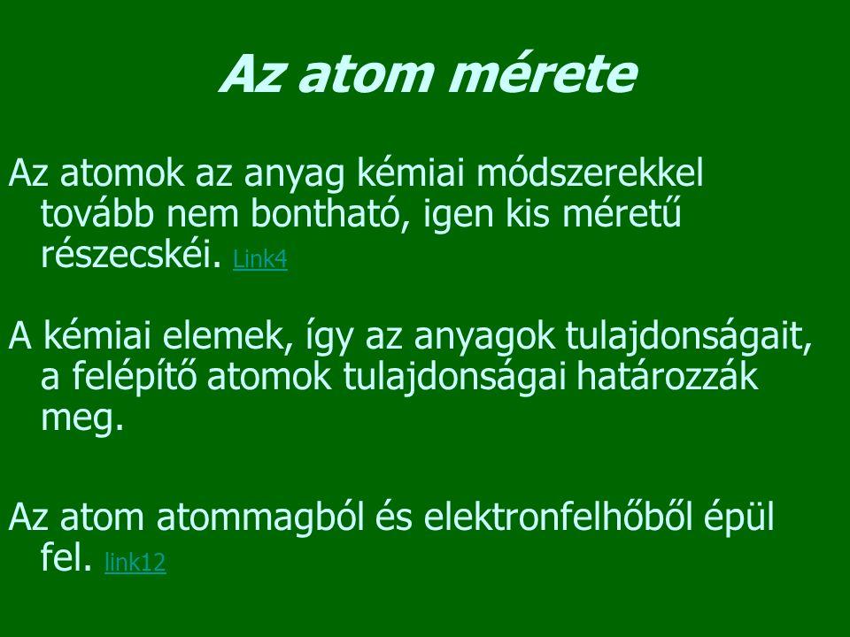 Az atom mérete Az atomok az anyag kémiai módszerekkel tovább nem bontható, igen kis méretű részecskéi. Link4.