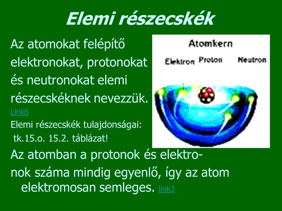 Elemi részecskék Az atomokat felépítő elektronokat, protonokat