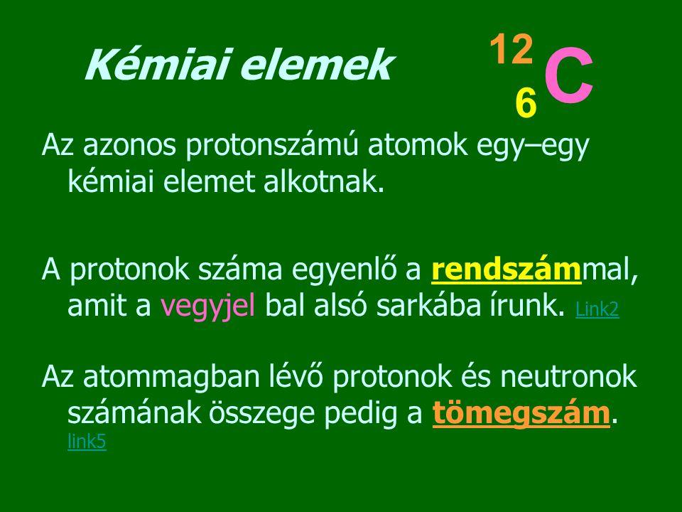 Kémiai elemek 12. C. 6. Az azonos protonszámú atomok egy–egy kémiai elemet alkotnak.