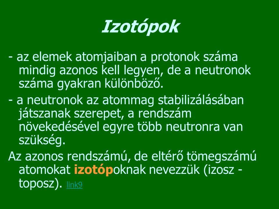 Izotópok - az elemek atomjaiban a protonok száma mindig azonos kell legyen, de a neutronok száma gyakran különböző.