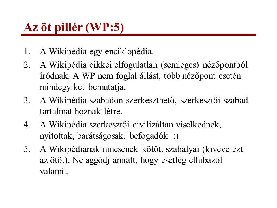 Az öt pillér (WP:5) A Wikipédia egy enciklopédia.
