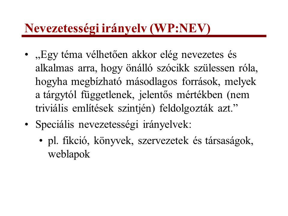 Nevezetességi irányelv (WP:NEV)