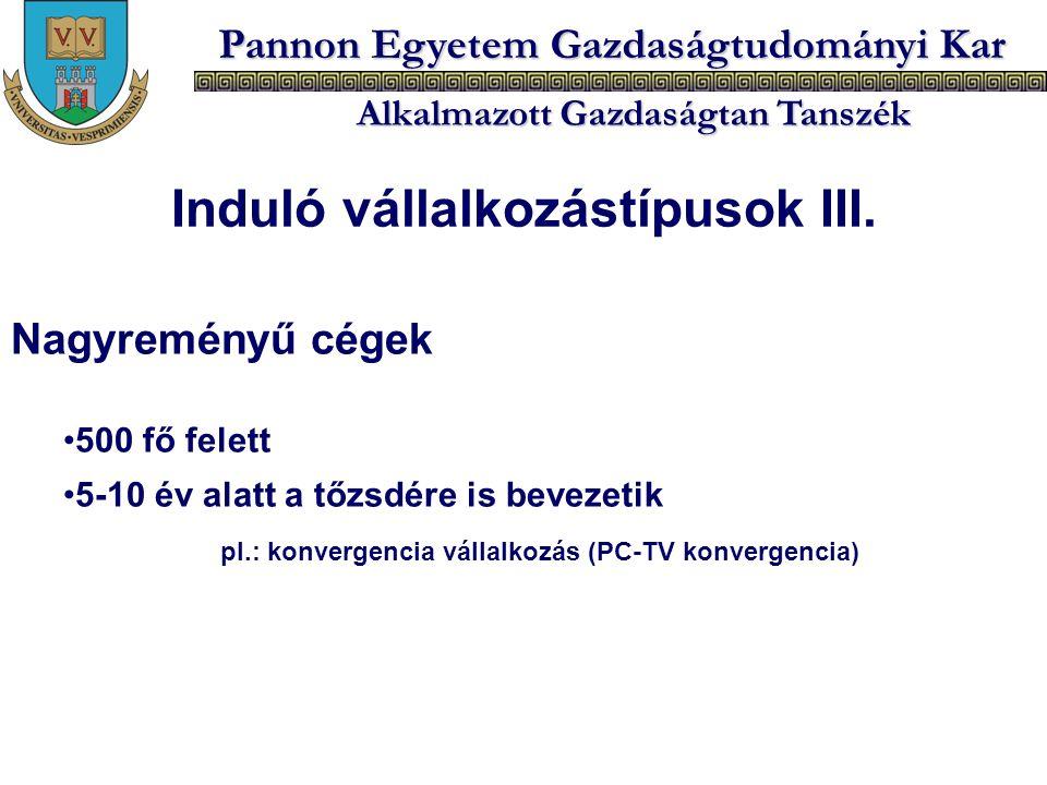 Induló vállalkozástípusok III.