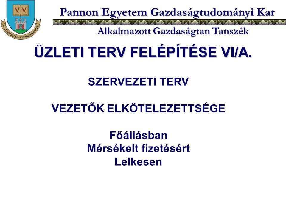 ÜZLETI TERV FELÉPÍTÉSE VI/A. VEZETŐK ELKÖTELEZETTSÉGE