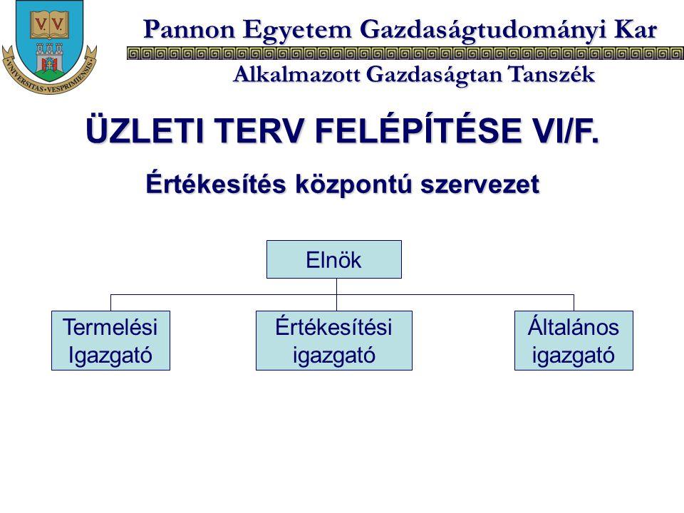 ÜZLETI TERV FELÉPÍTÉSE VI/F. Értékesítés központú szervezet