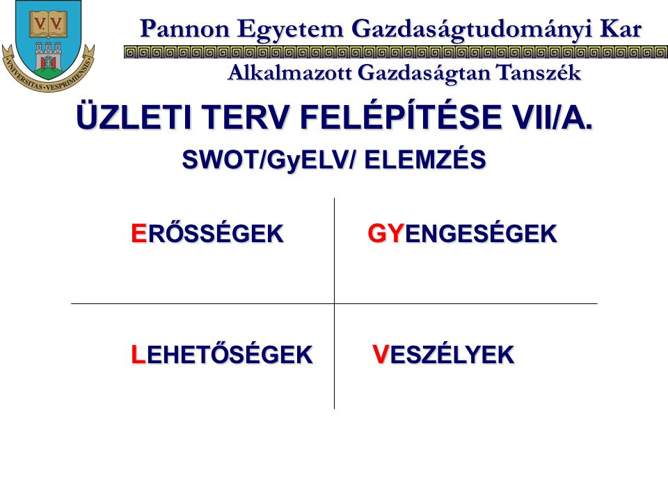ÜZLETI TERV FELÉPÍTÉSE VII/A.