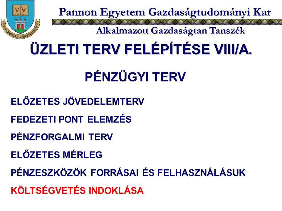 ÜZLETI TERV FELÉPÍTÉSE VIII/A.