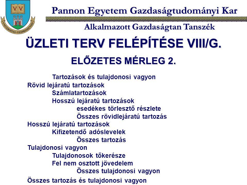ÜZLETI TERV FELÉPÍTÉSE VIII/G.