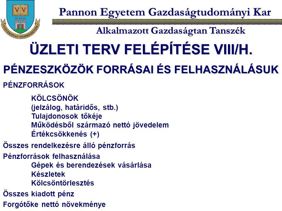 ÜZLETI TERV FELÉPÍTÉSE VIII/H. PÉNZESZKÖZÖK FORRÁSAI ÉS FELHASZNÁLÁSUK