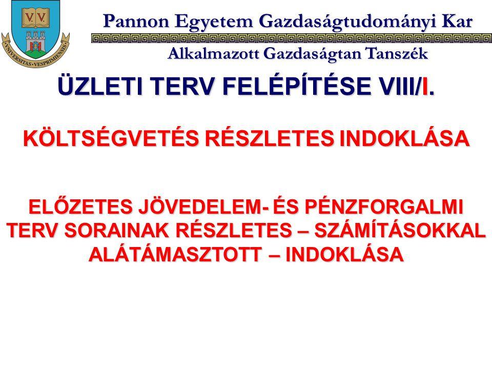 ÜZLETI TERV FELÉPÍTÉSE VIII/I. KÖLTSÉGVETÉS RÉSZLETES INDOKLÁSA