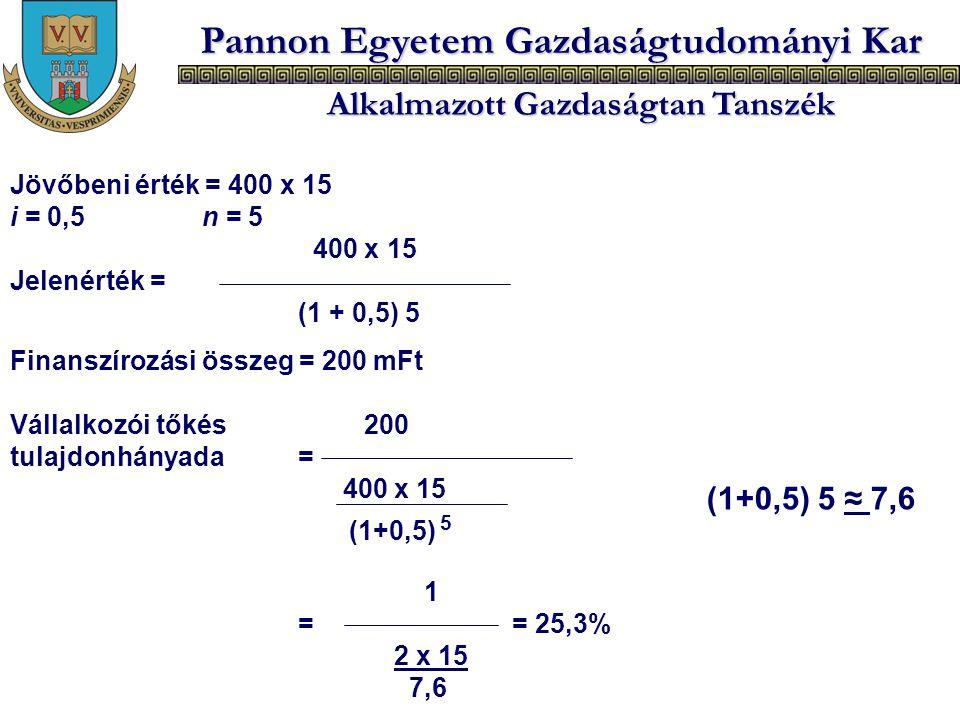 (1+0,5) 5 ≈ 7,6 Jövőbeni érték = 400 x 15 i = 0,5 n = 5 400 x 15