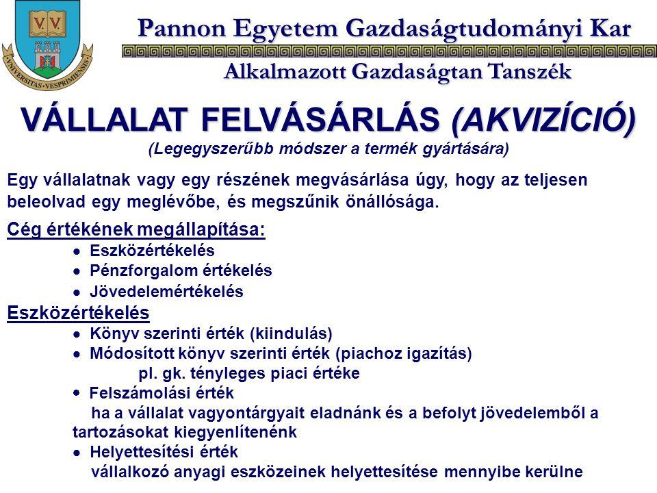 VÁLLALAT FELVÁSÁRLÁS (AKVIZÍCIÓ)