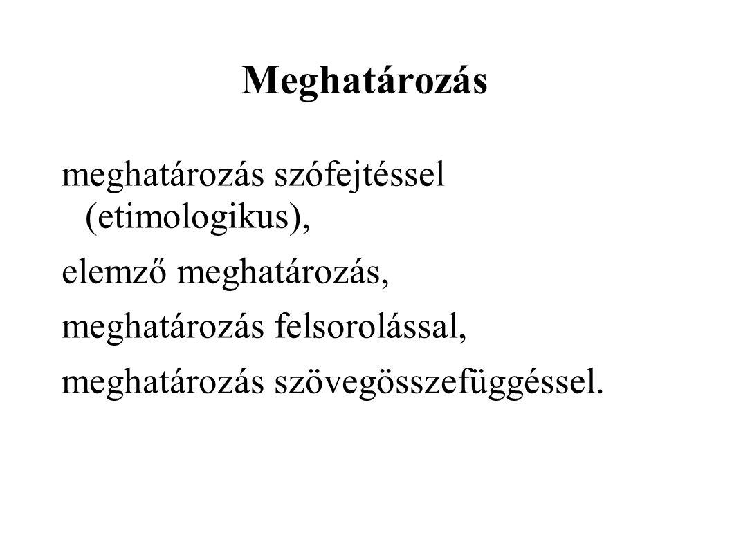 Meghatározás meghatározás szófejtéssel (etimologikus),