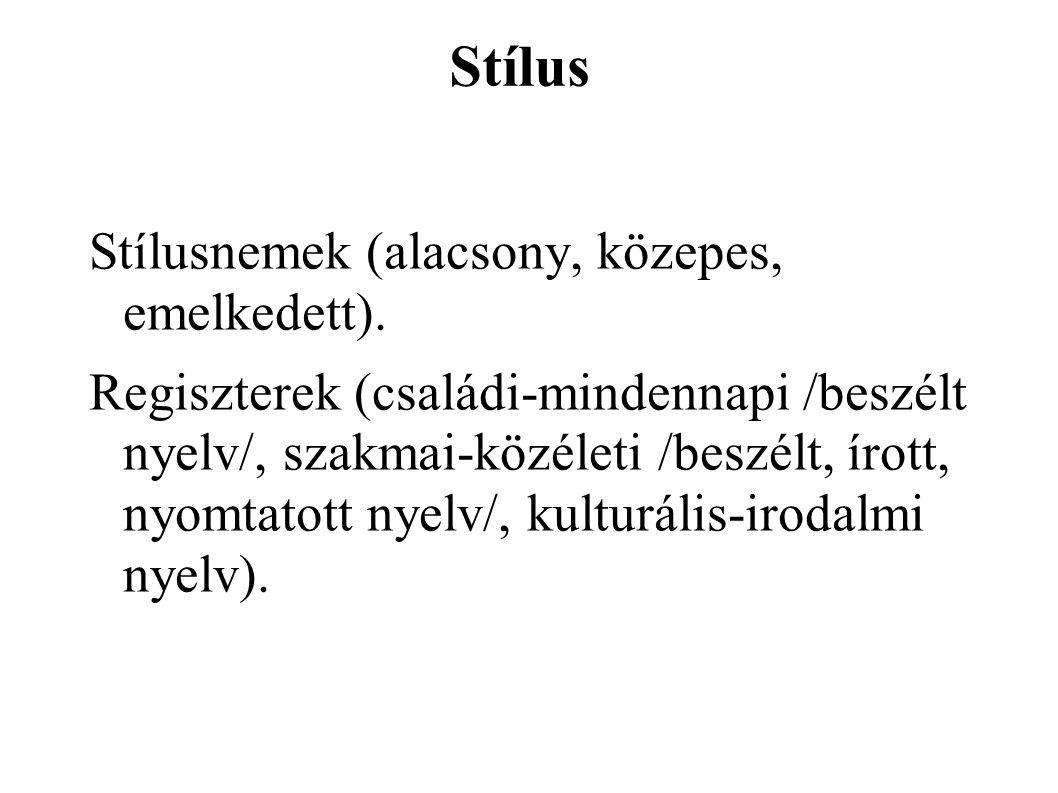 Stílus Stílusnemek (alacsony, közepes, emelkedett).