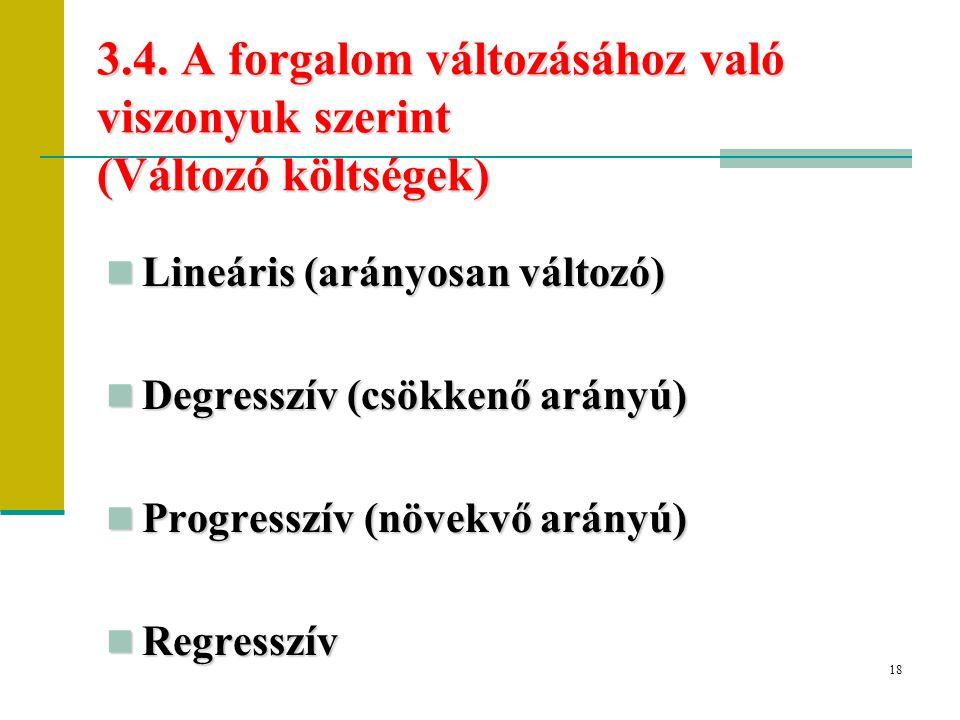 3.4. A forgalom változásához való viszonyuk szerint (Változó költségek)