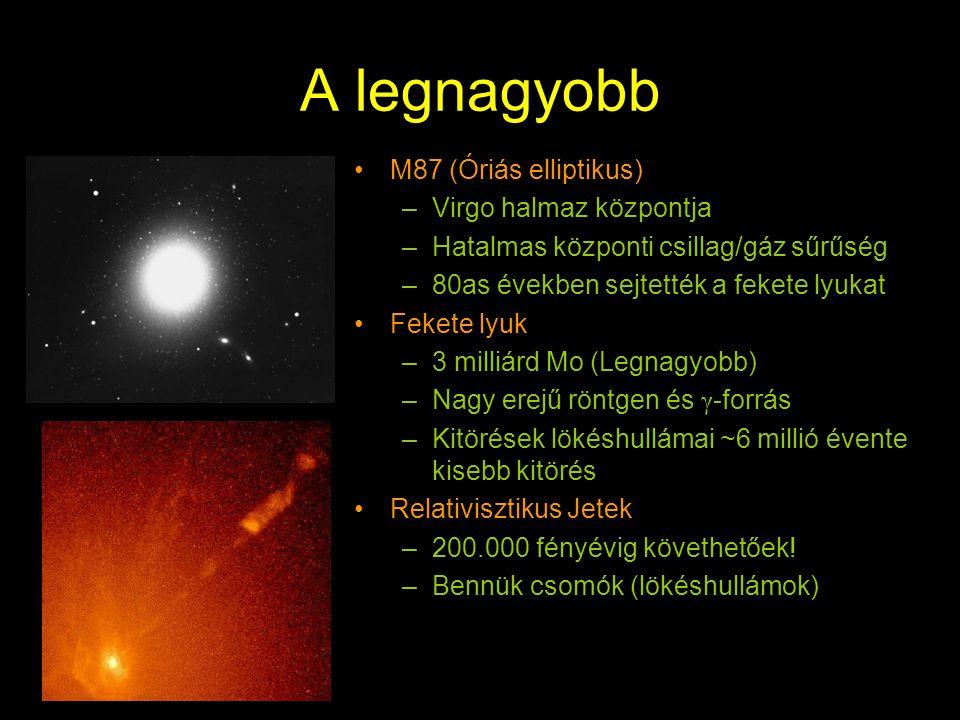 A legnagyobb c M87 (Óriás elliptikus) Virgo halmaz központja