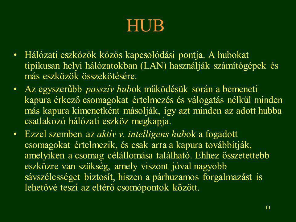 HUB Hálózati eszközök közös kapcsolódási pontja. A hubokat tipikusan helyi hálózatokban (LAN) használják számítógépek és más eszközök összekötésére.
