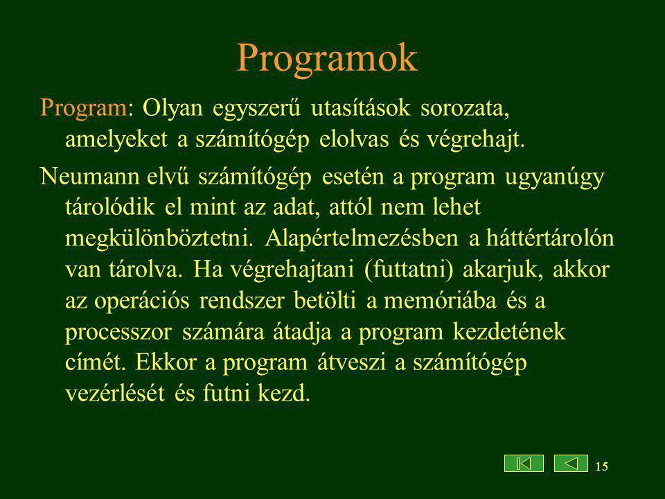 Programok Program: Olyan egyszerű utasítások sorozata, amelyeket a számítógép elolvas és végrehajt.