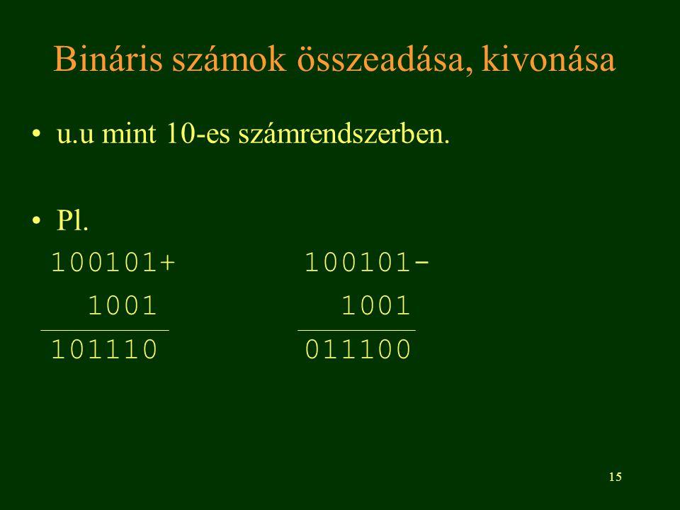 Bináris számok összeadása, kivonása