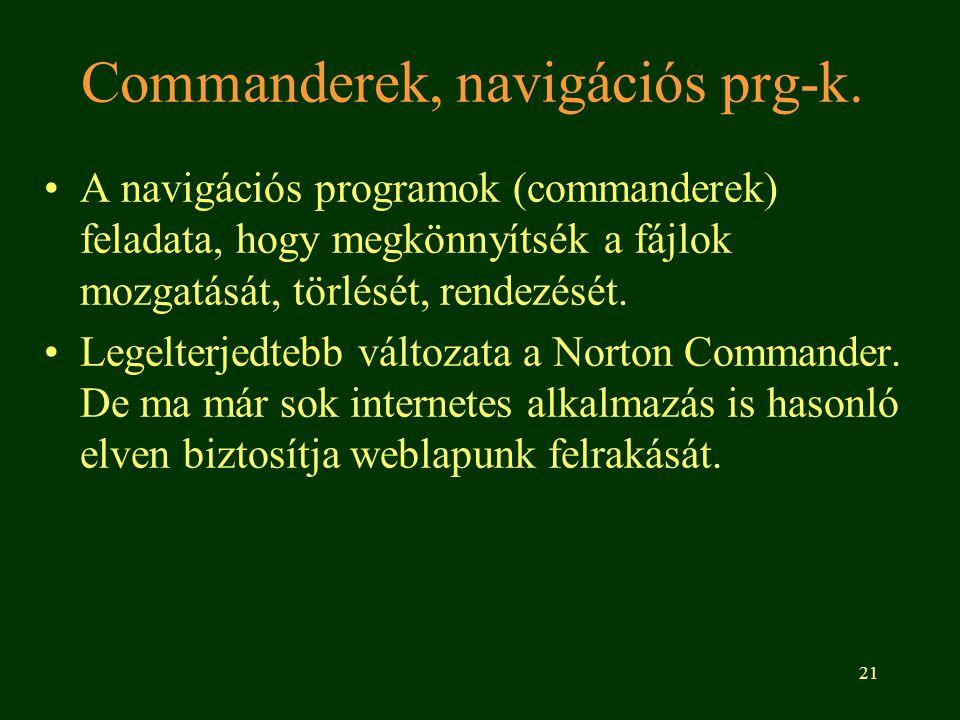 Commanderek, navigációs prg-k.