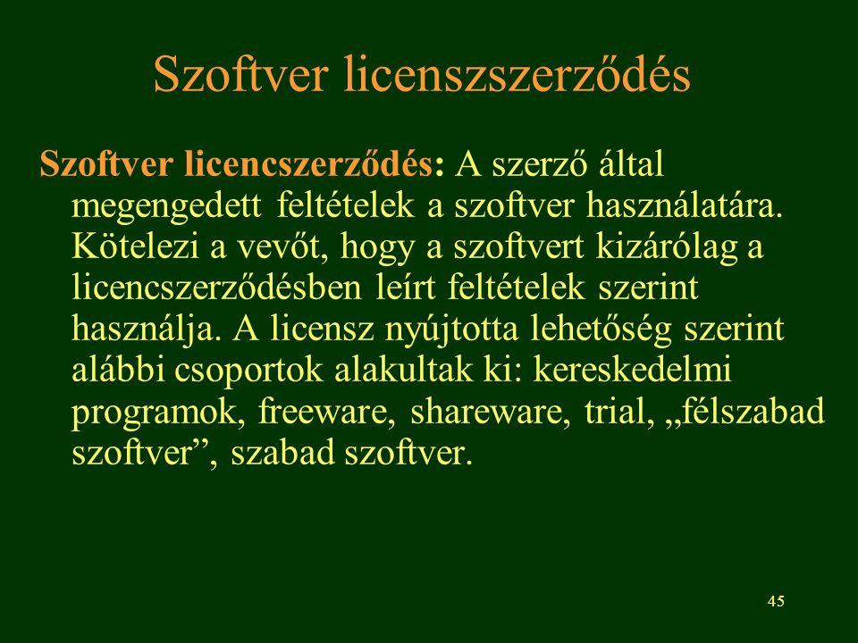 Szoftver licenszszerződés