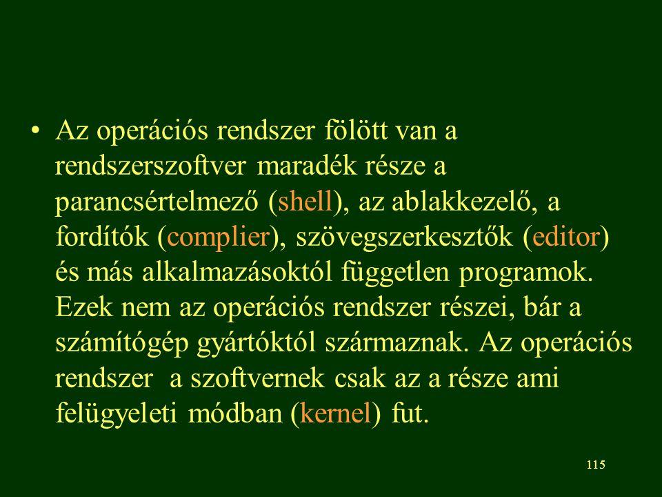 Az operációs rendszer fölött van a rendszerszoftver maradék része a parancsértelmező (shell), az ablakkezelő, a fordítók (complier), szövegszerkesztők (editor) és más alkalmazásoktól független programok.