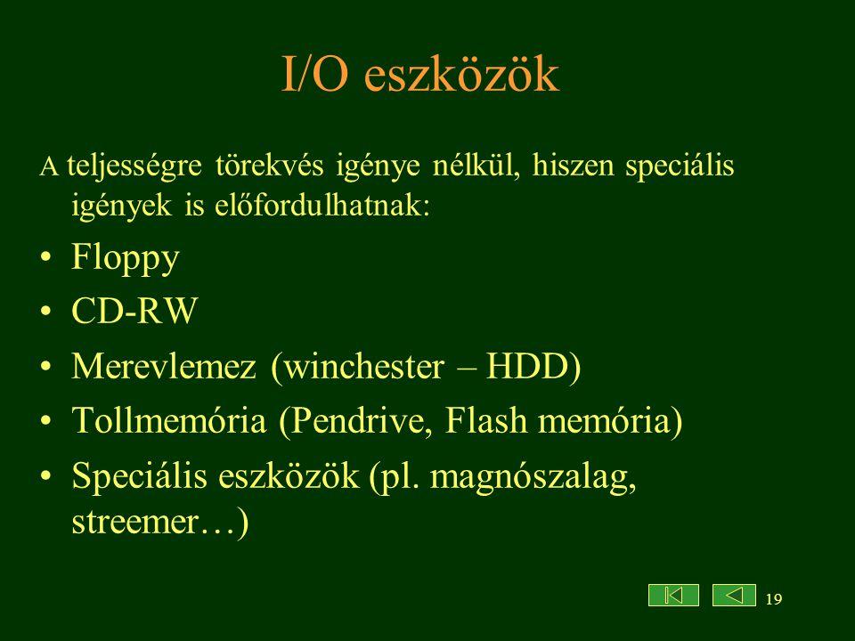 I/O eszközök Floppy CD-RW Merevlemez (winchester – HDD)