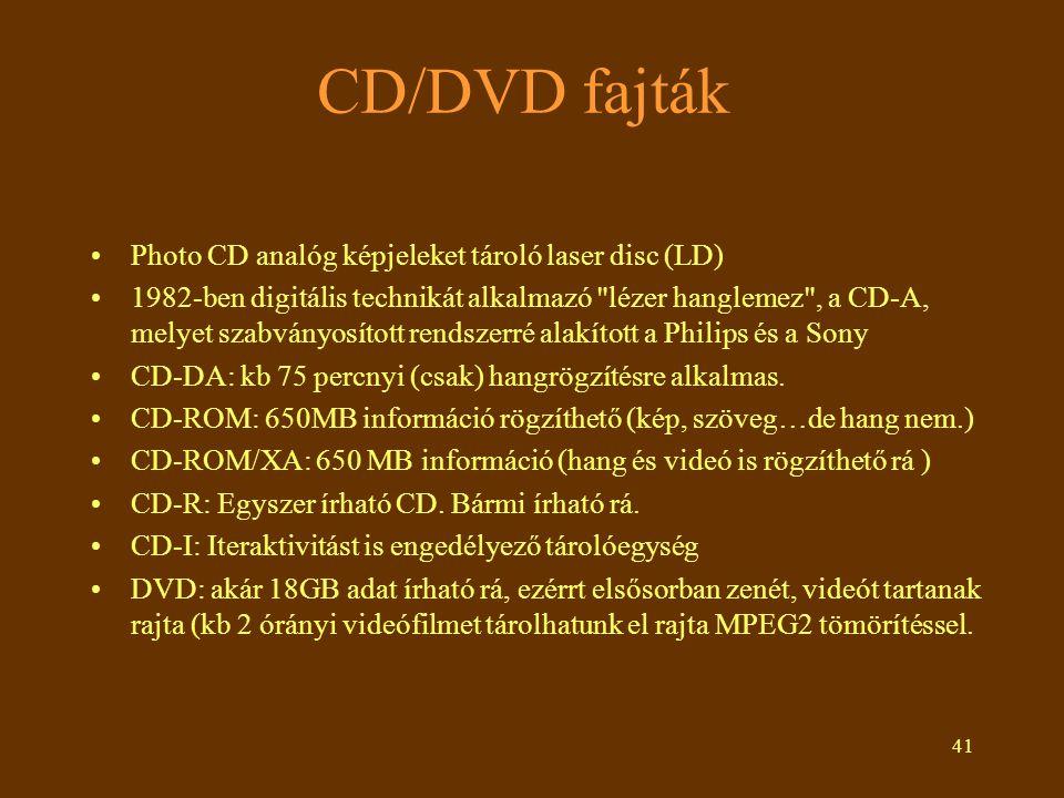 CD/DVD fajták Photo CD analóg képjeleket tároló laser disc (LD)