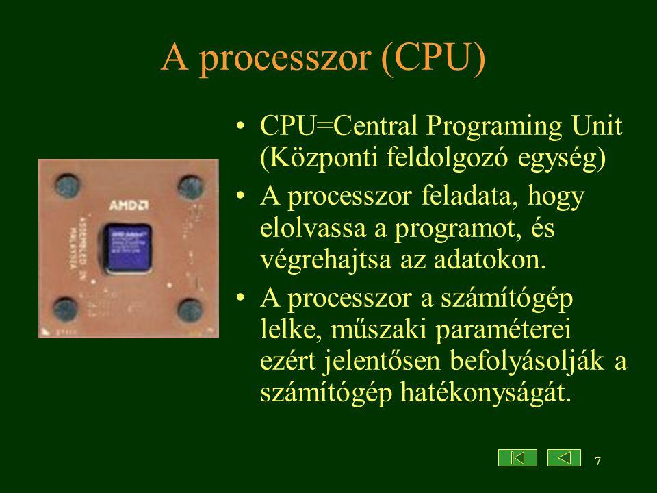 A processzor (CPU) CPU=Central Programing Unit (Központi feldolgozó egység)