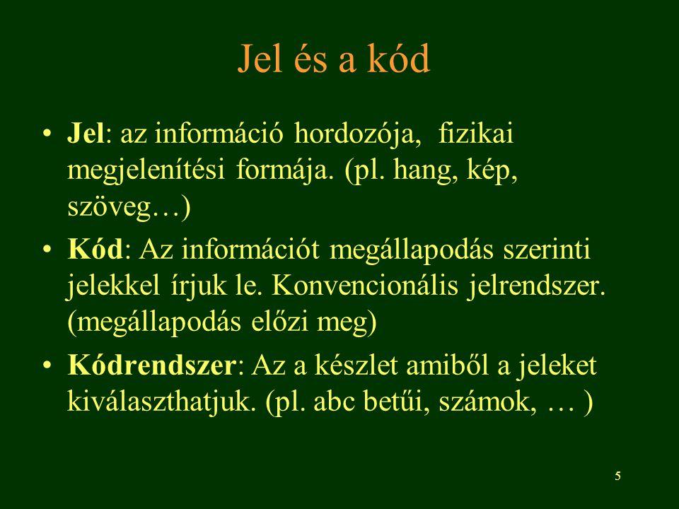 Jel és a kód Jel: az információ hordozója, fizikai megjelenítési formája. (pl. hang, kép, szöveg…)