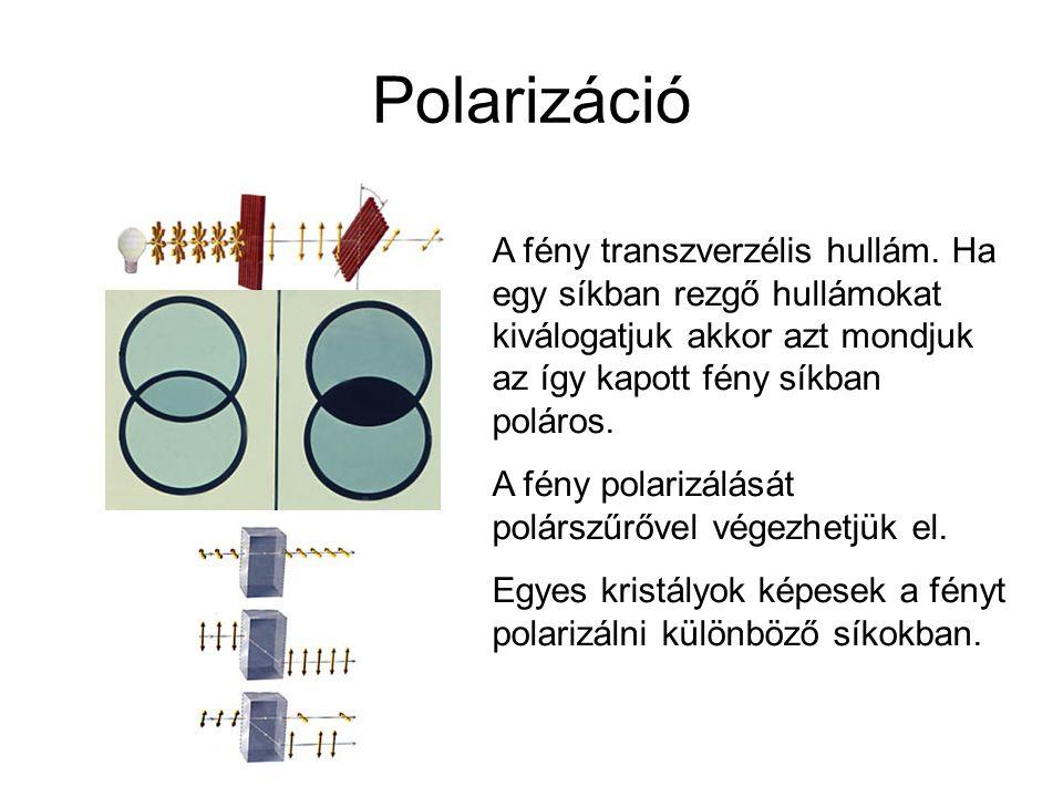 Polarizáció A fény transzverzélis hullám. Ha egy síkban rezgő hullámokat kiválogatjuk akkor azt mondjuk az így kapott fény síkban poláros.