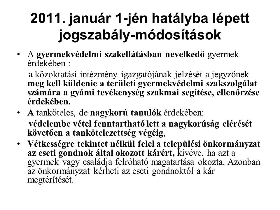 2011. január 1-jén hatályba lépett jogszabály-módosítások