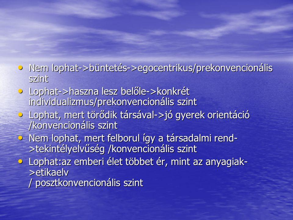 Nem lophat->büntetés->egocentrikus/prekonvencionális szint