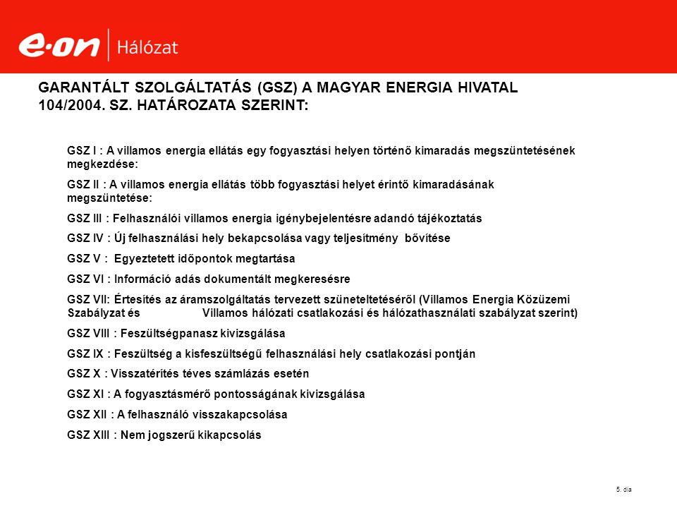 GARANTÁLT SZOLGÁLTATÁS (GSZ) A MAGYAR ENERGIA HIVATAL 104/2004. SZ