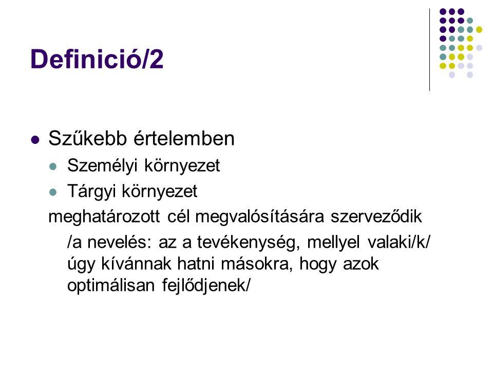Definició/2 Szűkebb értelemben Személyi környezet Tárgyi környezet